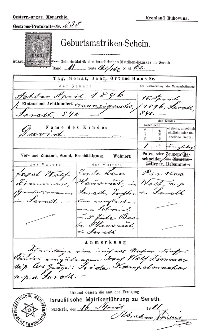 Esther m zimmer lederberg family records david zimmers birth esthers fathers birth cert kronland bukowina oesterr ungar monarchie xflitez Image collections